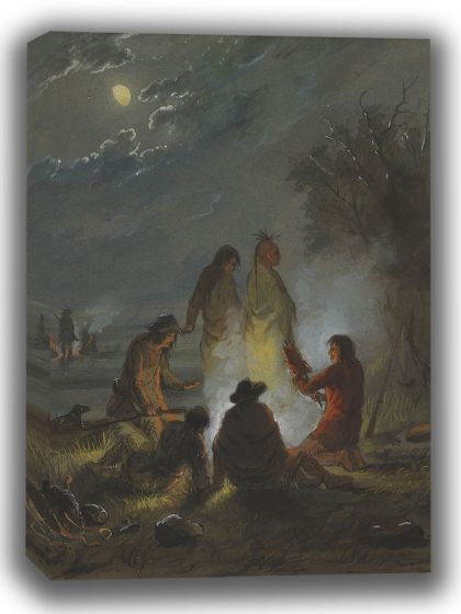 Miller, Alfred Jacob: Camp Fire, Preparing the Evening Meal. Fine Art Canvas. Sizes: A4/A3/A2/A1 (003847)